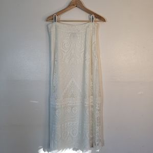 Anthropologie White Lace Maxi Skirt by Farm